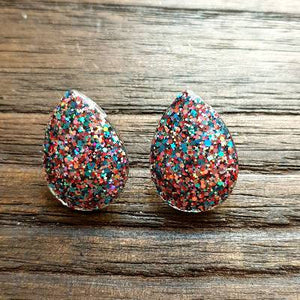 Teardrops Glitter Stud Earrings, Confetti Glitter Stainless Steel Earrings.