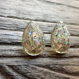 Teardrops Glitter Stud Earrings, Holographic Chunky Glitter Stainless Steel Earrings.