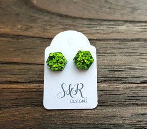 Hexagon Resin Stud Earrings, Green Chunky Glitter Earrings. Stainless Steel Stud Earrings. 10mm or 6mm