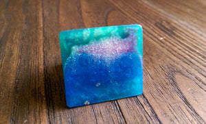 Statement Square Resin Ring, Handmade Size 7 US N AU Green Blue Silver Purple Mix Ring