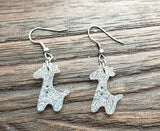 Giraffe Dangle Earrings, Silver Glitter Resin Stainless Steel Earrings.