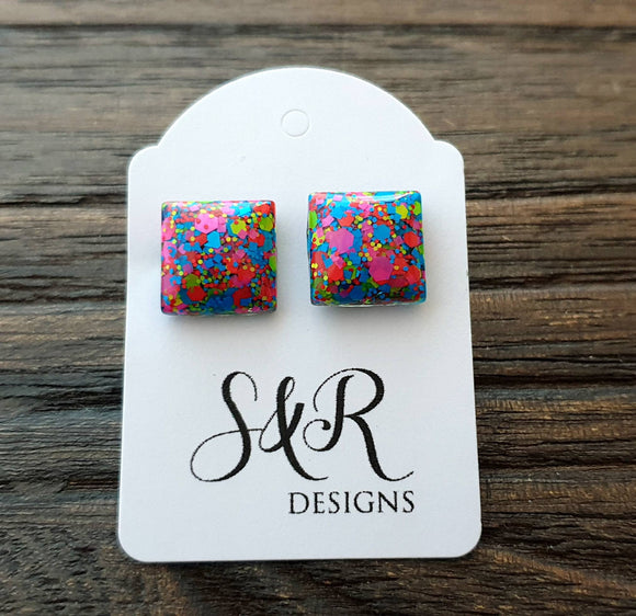 Square Resin Stud Earrings, Neon Glitter Square Earrings made with Stainless Steel. 12mm
