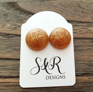 Resin Circle Stud earrings stainless steel Copper Glitter Earrings Sparkly. 14mm