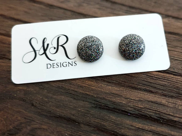 Circle Resin Stud Earrings, Black Rainbow Fine Glitter Mix Stainless Steel Stud Earrings. 12mm