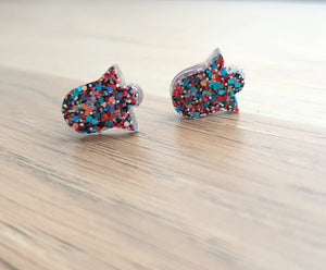 Bell Flower Resin Stud Earrings, Confetti Earrings. Stainless Steel Stud Earrings.