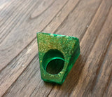 Statement Square Resin Ring, Handmade Size 7 US N AU. Emerald Green Gold Glitter Ring