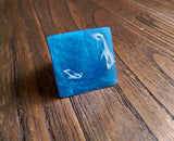 Statement Square Resin Ring, Handmade Size 7 US N AU Blue  and White Swirls Ring