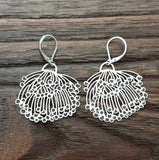 Blossom Flower Dangle Earrings, Large Blossom Design Earrings, Stainless Steel Hook Earrings