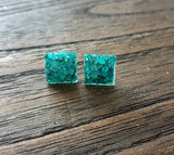 Square Resin Stud Earrings, Teal Glitter Square Earrings made with Stainless Steel. 12mm