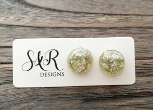 Resin Circle Stud earrings Silver Leaf mix Stainless Steel 14mm