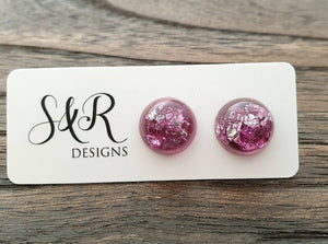 Resin Circle Stud earrings Magenta and Silver Leaf mix Stainless Steel 14mm