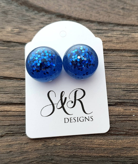Resin Ball Stud earrings Blue Glitter Earrings, stainless steel earrings 14mm