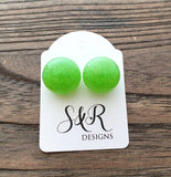 Resin Ball Stud earrings Lime Green Glitter Earrings, stainless steel earrings 14mm