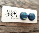 Hand Made Resin Teal Faux Opal Galaxy Glitter Mix Stud Earrings made of Stainless Steel. 14mm