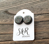 Hand Made Resin Black Rainbow Glitter Mix Stud Earrings made of Stainless Steel. 14mm