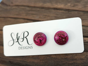 Circle Resin Pink Purple Stud Earrings, Stainless Steel Stud Earrings. 12mm