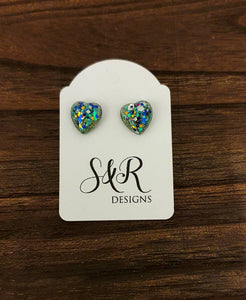 Heart Resin Stud Earrings, Sparkly Teal Silver Blue Mix Glitter, Stainless Steel 10mm Hearts