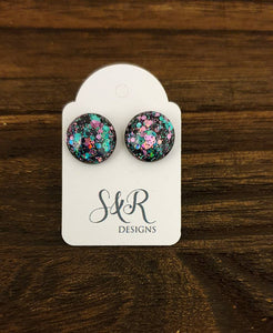 Black Teal Pink Circle Resin Stud Earrings, Black Rainbow Earrings, Stainless Steel Stud Earrings. 12mm