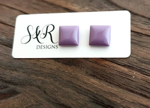 Square Resin Stud Earrings, Lavender Purple Square Earrings made with Stainless Steel. 12mm