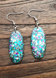 Oval Resin Dangle Glitter Earrings, Stainless Steel, Purple,  Teal and Silver Mix Glitter