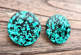 Emerald Green Black Chunky Glitter Mega Circle Stud Earrings, Acrylic Earrings, Stainless Steel Earrings. 30mm