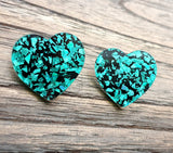 Emerald Green Black Chunky Glitter Mega Heart Stud Earrings, Acrylic Earrings, Stainless Steel Earrings. 30mm