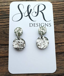 Circle Silver Glitter Dangle Earrings