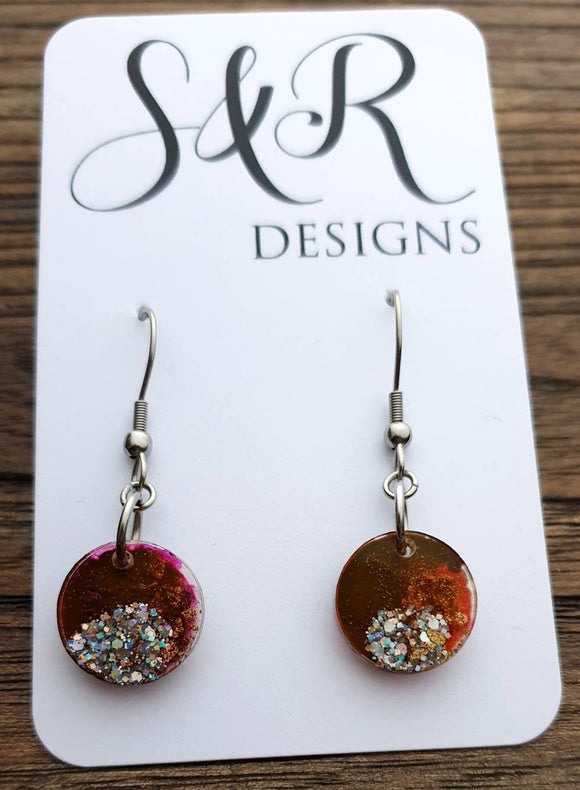 Circle Holographic Glitter Ink Mix Dangle Earrings