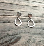 Teardrop Heart Stud Earrings, Stainless Steel Dangles