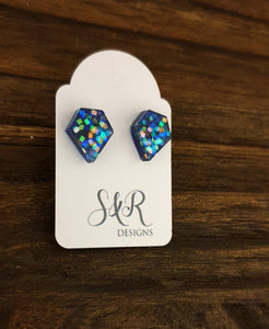 Diamond Cut Resin Stud Earrings, Blue Square Holographic Glitter Earrings. Stainless Steel Stud Earrings.