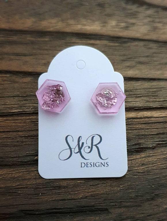 Hexagon Resin Stud Earrings,  Light Pink Silver Leaf Earrings. Stainless Steel Stud Earrings. 10mm