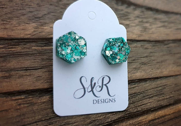 Hexagon Stud Earring, Resin Teal Silver Glitter Mix Earrings. Stainless Steel Stud Earrings. 10mm or Mini Earrings 6mm
