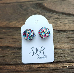 Hexagon Stud Earring, Resin Blue Pink Silver Glitter Mix Earrings. Stainless Steel Stud Earrings. 10mm or Mini Earrings 6mm