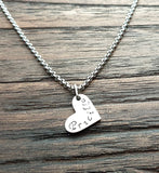 Personalised Heart Necklace, Minimalist Necklace, Hand Stamped Name Necklace add Name, Date or Initials
