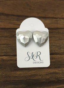 Faceted Heart Resin Stud Earrings, Silver Heart Earrings, Stainless Steel 14mm Hearts
