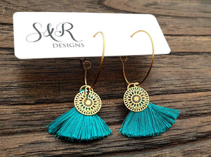 Teal Tassel Circle Filigree Gold Stainless Steel Dangle Hoop Earrings