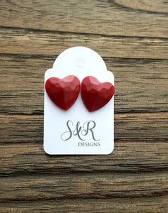 Faceted Heart Resin Stud Earrings, Burgundy Red Earrings Stainless Steel 14mm Hearts