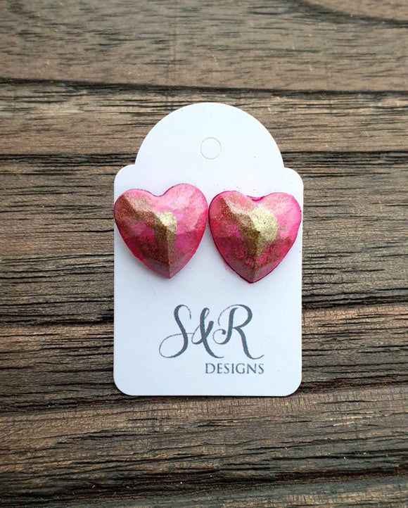 Faceted Heart Resin Stud Earrings, Pink Gold Earrings Stainless Steel 14mm Hearts
