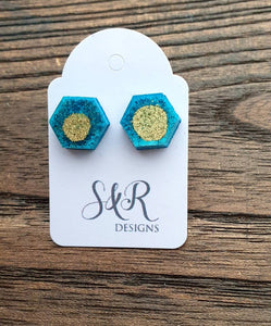 Hexagon Resin Stud Earrings, Blue Gold Ink Earrings. Stainless Steel Stud Earrings. 10mm