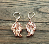 Rose Gold Glitter Leaf Resin Leverback Earrings, Glitter Resin Earrings, Rose Gold Stainless Steel Earrings