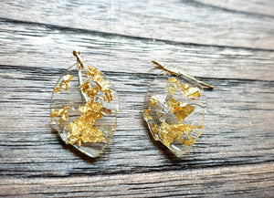 Clear Gold Silver Leaf Leaves Earrings, Resin Earrings, mixed gold silver leaf resin earrings. Small or Medium