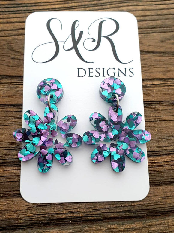 Aqua Purple Glitter Flower Acrylic Dangle Earrings, Stainless Steel