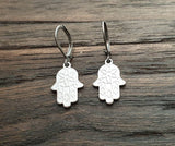 Hamsa Hand Leverback Earrings, Stainless Steel Dangle Leverback, threaders or Hook Earrings.