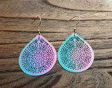 Blue Pink Teardrop Dangle Earrings Stainless Steel
