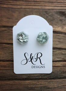 Hexagon Resin Stud Earrings,  Light Grey Silver Leaf Earrings. Stainless Steel Stud Earrings. 10mm