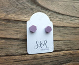 Hexagon Resin Stud Earrings Lilac Purple Earrings. Stainless Steel Stud Earrings. 6mm Mini Earrings