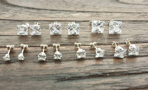 Sterling Silver CZ Square Stud Earrings, Cubic Zirconia Stud Earrings, Square Cz Studs, Princess Cut Studs 3mm 4mm 5mm 6mm 7mm 8mm 9mm