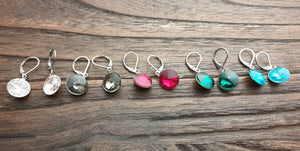 Glass Crystal Leverback Earrings Stainless Steel. Choose colour: Clear, Black Diamond, Emerald Green, Aquamarine, Red 12mm