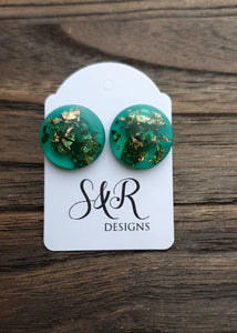 Circle Emerald Green Resin Rose Gold Leaf Stud Earrings 18mm