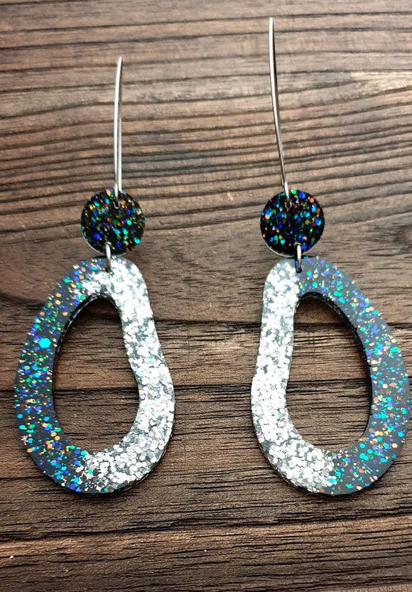 Large Unique Oval Design Long Dangle Earrings, Black Rainbow Silver Holographic Glitter Resin Dangle Statement Earrings
